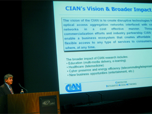 Dr. Nasser Peyghambarian, director of CIAN, presents CIAN's vision to a panel of reviewers from the National Science Foundation.