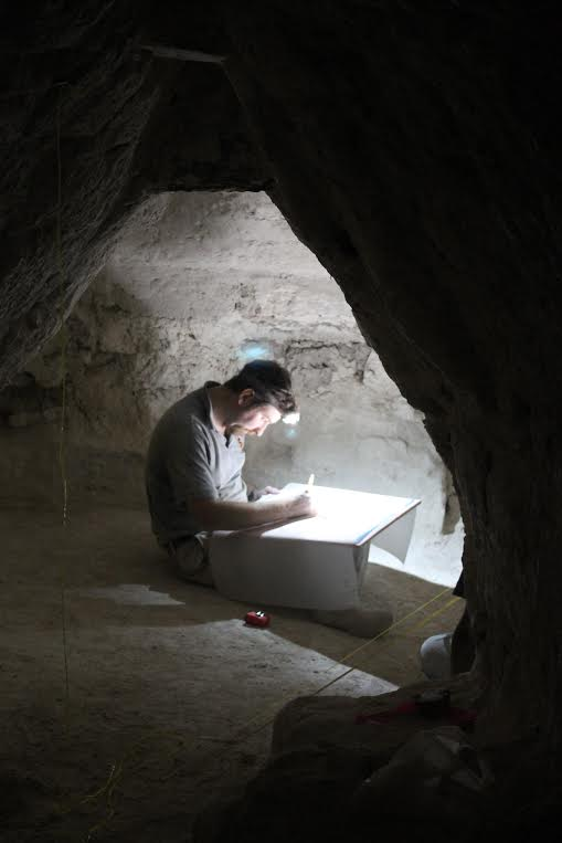 Thomas Garrison conducts traditional archaeological documentation (drawing) of a tomb chamber documented by the LiDAR machine in a matter of minutes