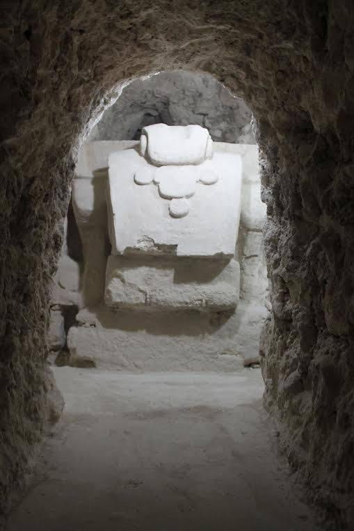 one of the monumental masks in tunnels at El Zotz that were documented by the UCSD team