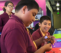 Children work with a microprocessor at the Thinkabit lab