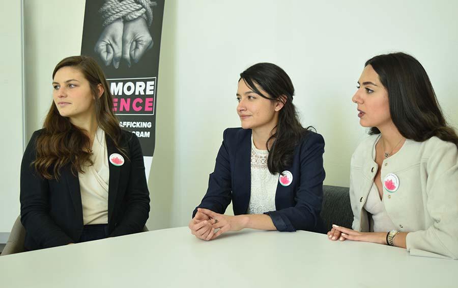 From left: Harvard U. alum Diana Sheedy with Ambar Valles and Alisar El Rayess of GPS.