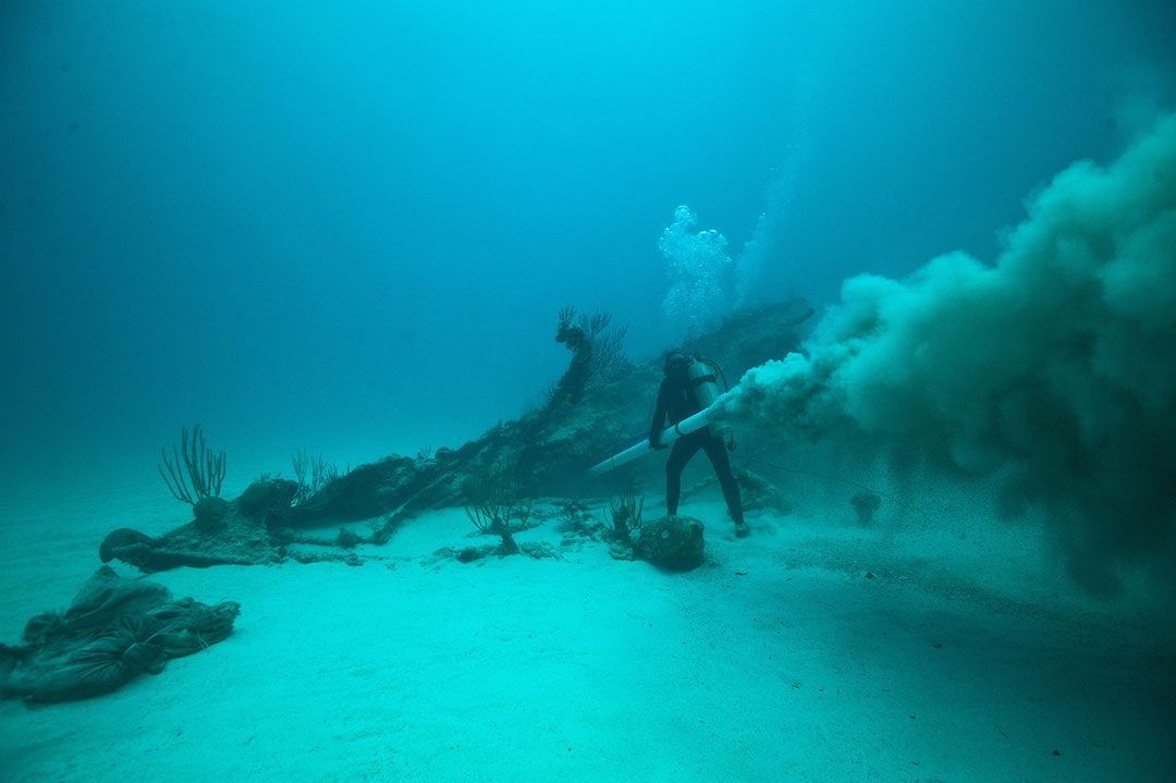 A diver investigates the Mary Celestia, a shipwreck off the coast of Bermuda.