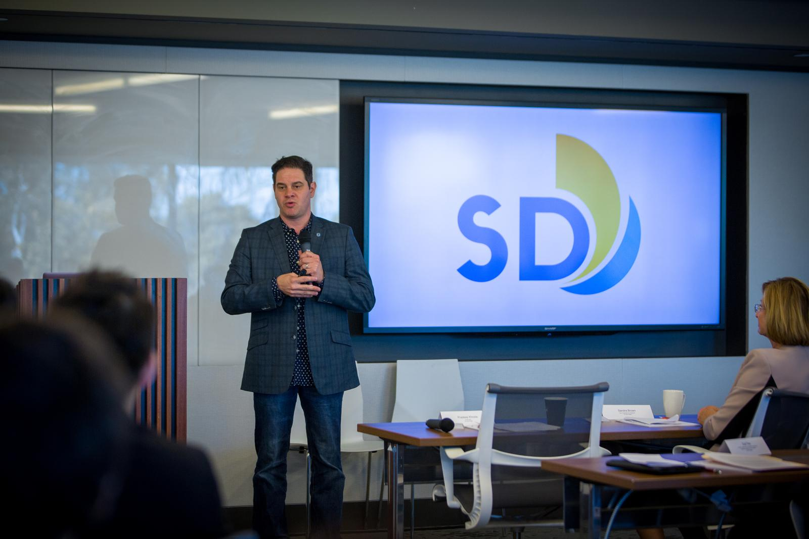 David Graham, deputy chief operating officer for the City of San Diego, said the City plans to serve as a laboratory for smart transportation innovations. Photo credit Shanni Jin/ Calit2