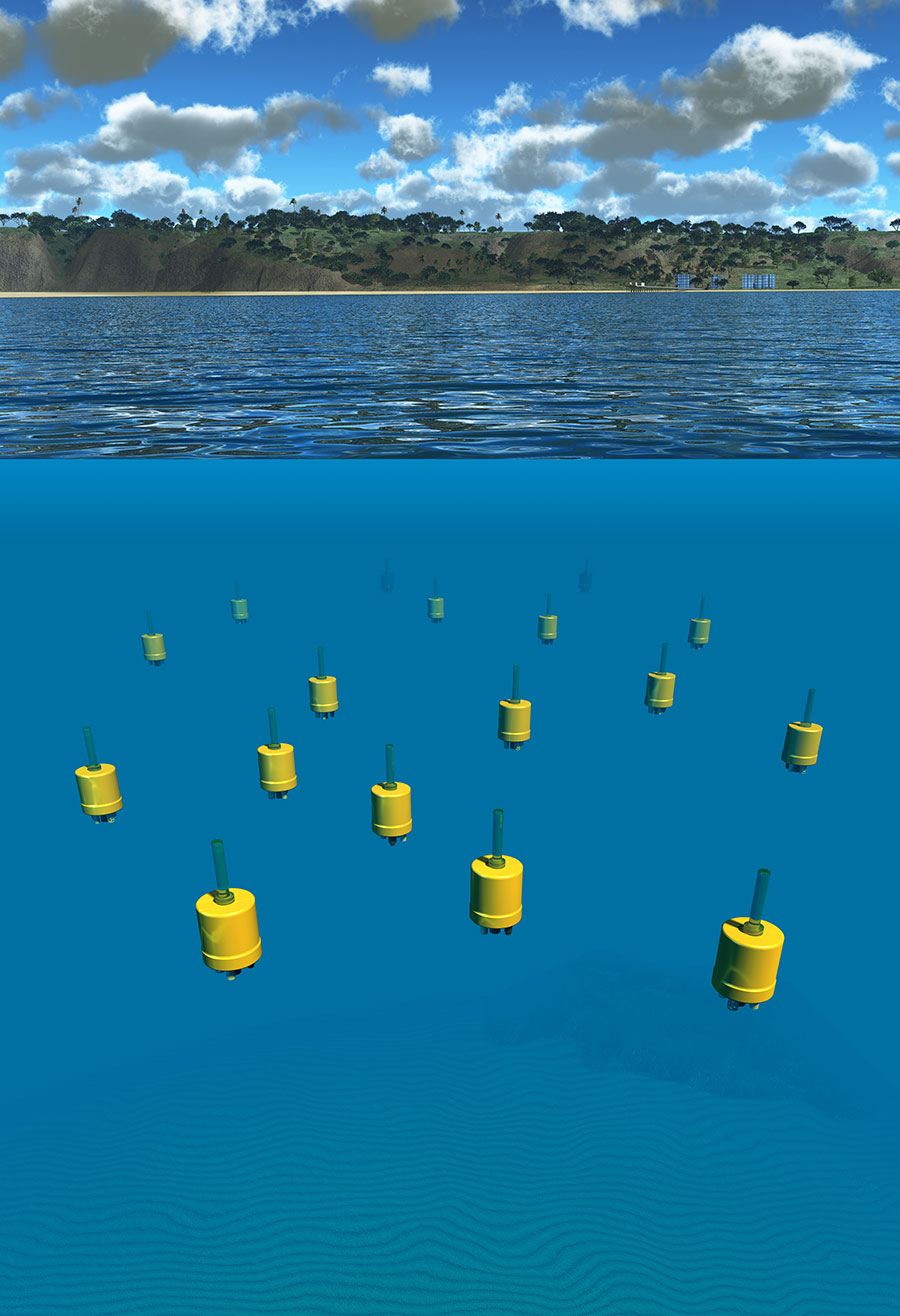 A graphic representation of the underwater explorers off the coast of Del Mar. Credit: Jaffe Lab for Underwater Imaging/Scripps Oceanography