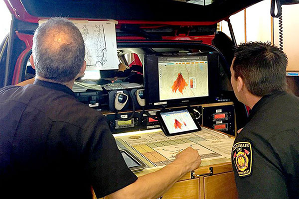 Los Angeles Fire Department personnel use Firemap, a web-based tool developed by UC San Diego resear