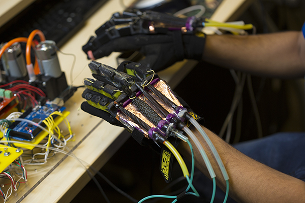 Closeup image of virtual reality glove to simulate sense of touch.