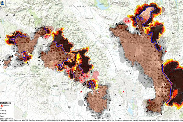 This image shows another run of simulations from this week's wildfires in Sonoma and Napa, CA using