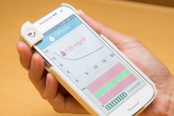 Gphone sensor and app for blood glucose monitoring