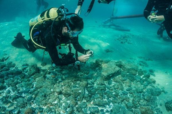 A scuba diver finds ceramic shard